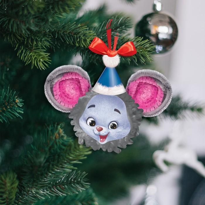 """Елочная игрушка из помпона """"Мышка"""""""