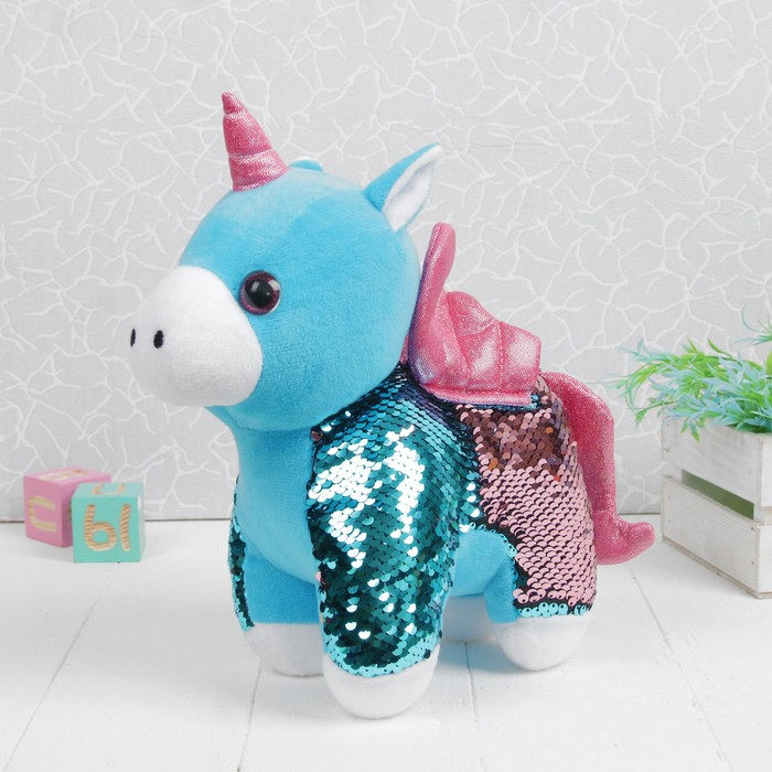 Мягкая игрушка «Единорог», 30 см, пайетки, цвета МИКС - фото 4470032