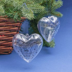"A set of Christmas decorations under the coloring ""Heart"" 2 piece, size tight 6 ,5 cm,MIX"
