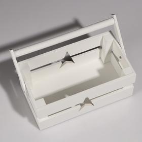"""Кашпо деревянное 24.5×13.5×9 см """"Двушка Лайт"""" двухреечное, звезда, белый Дарим Красиво - фото 7263023"""