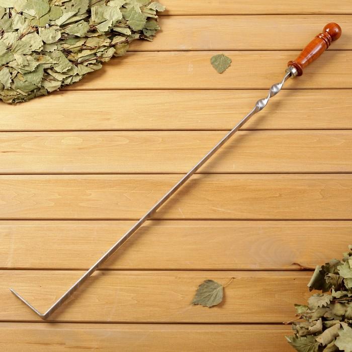 Кочерга металлическая с деревянной ручкой, с узором, 50×16×3 см