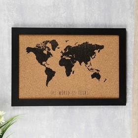"Панно декоративное дерево ""Карта мира"" чёрный 34х50х1,1 см"