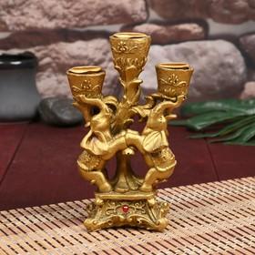 """Сувенир полистоун подсвечник """"Два золотых слона"""" 15х10,5х5,2 см"""