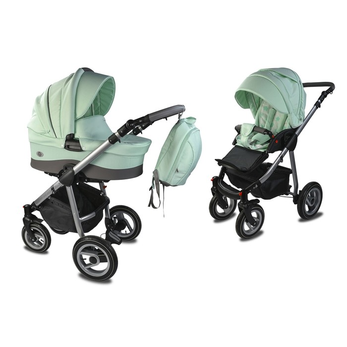 Коляска детская «Счастье» комбинированная 2 в 1, цвет ментол, повортные колеса