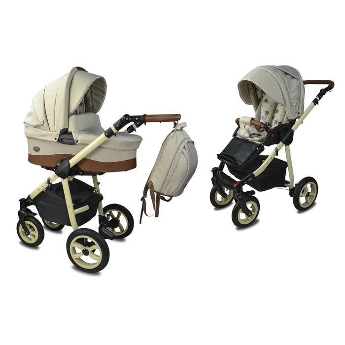 Коляска детская «Счастье» комбинированная 2 в 1, цвет бежевый, повортные колеса