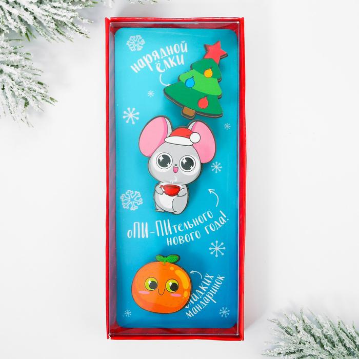 Набор значков «Новый год», в коробке, 3 шт.