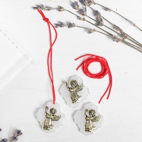 """Mascot set for Kras.thread """"angel with candle"""" 3 pieces, white, gold, 2.5 x 2.7 cm"""