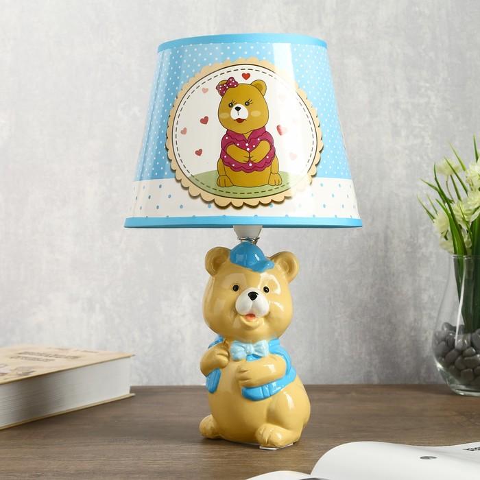 """Лампа настольная """"Мишка в кепке"""" 1хЕ14 40Вт 20х20х34см."""