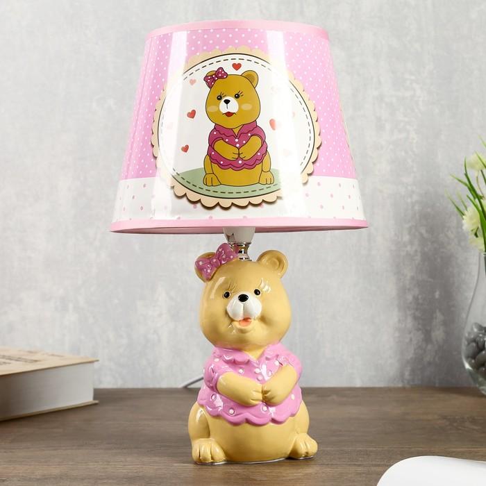 """Лампа настольная """"Мишка с бантиком"""" 1хЕ14 40Вт 20х20х34см."""