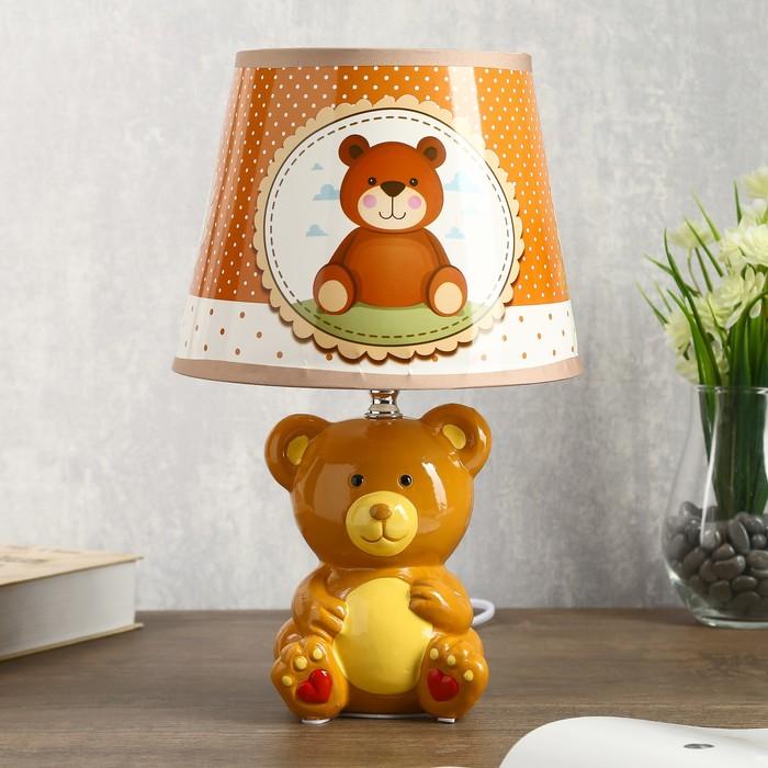 "Лампа настольная ""Мишка коричневый"" 1хЕ14 40Вт  20х20х32см."