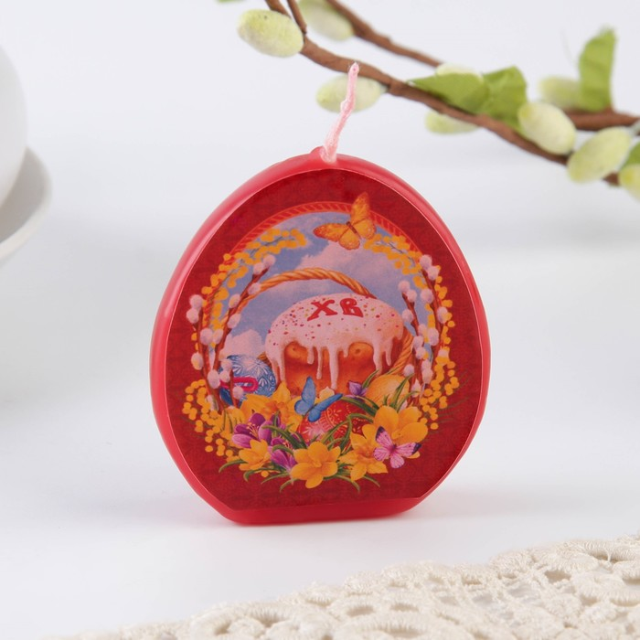 Свеча-яйцо с картинкой «Пасхальная композиция»