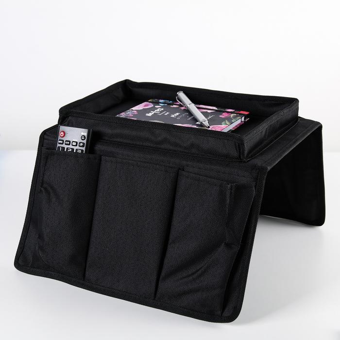 Карман для пульта и мелочей 53×30×3 см, цвет чёрный - фото 245634061