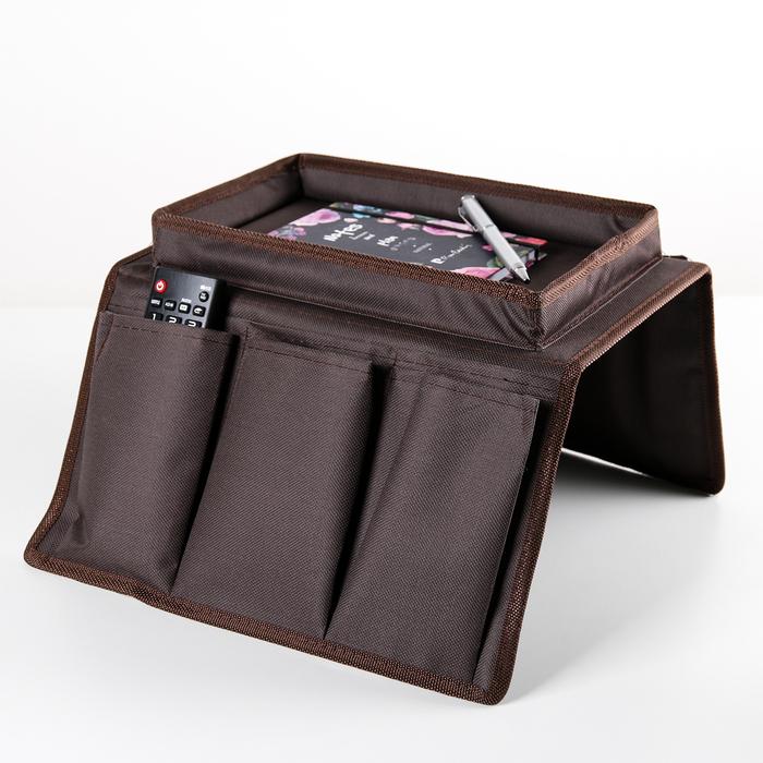 Карман для пульта и мелочей 53×30×3 см, цвет коричневый - фото 219517162