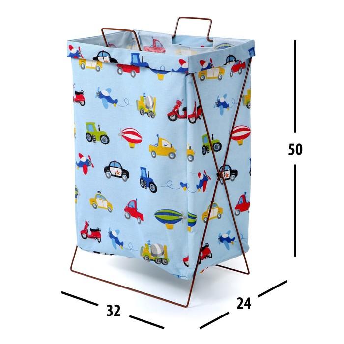 "Корзина для хранения игрушек ""Машинки"" на каркасе 32×25×56 см"