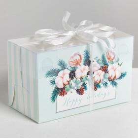 Box for cupcake Happy holidays, 16 x 8 x 10 cm
