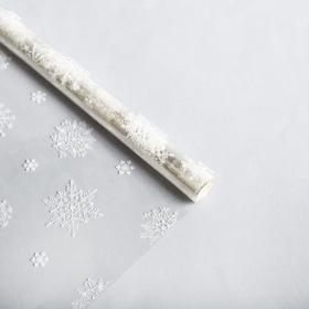 Плёнка глянцевая «Снежинки», белая, 1 × 5.2 м, 200 г
