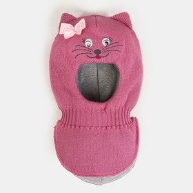 Шлем-капор для девочки, цвет розовый, размер 46-48