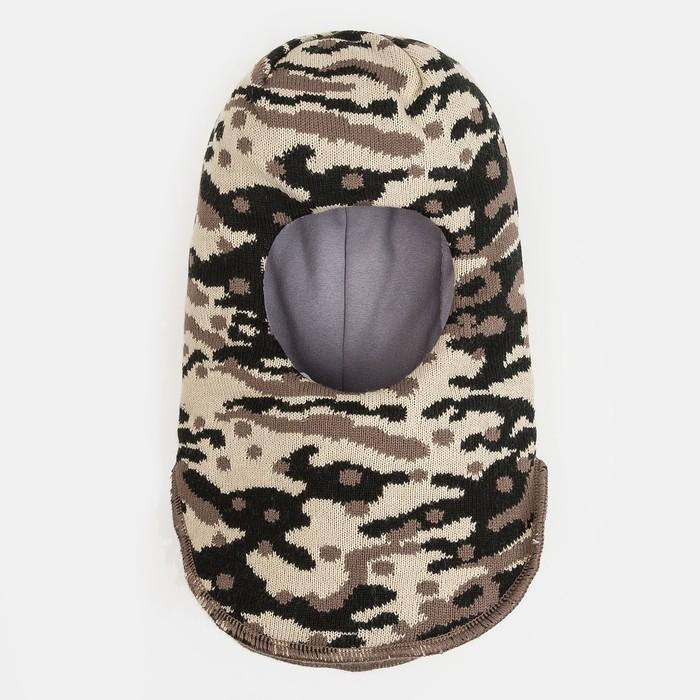Шлем-капор зимний для мальчика, цвет хаки, размер 50-52