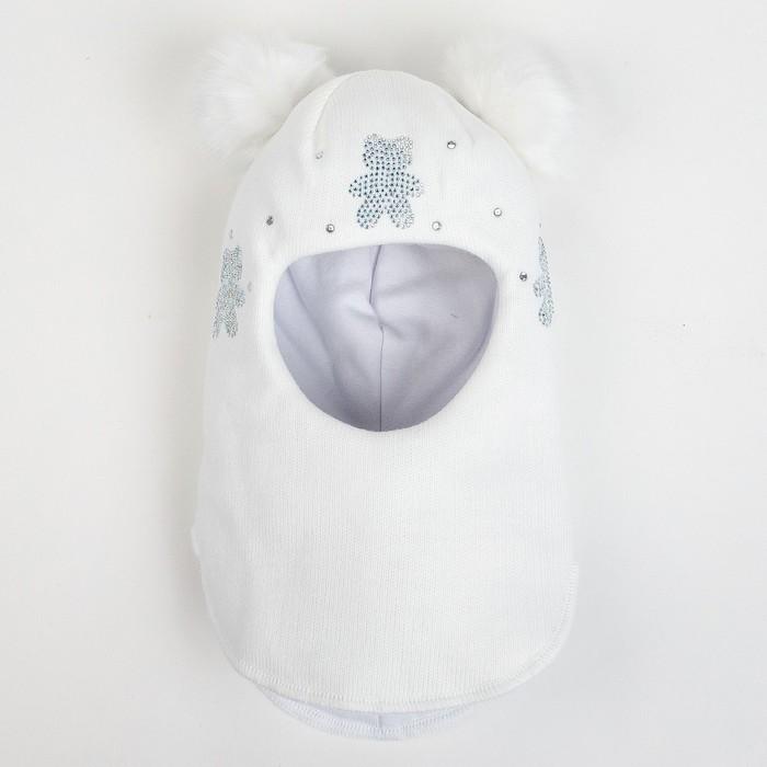 Шлем-капор зимний для девочки, цвет белый, размер 48-50