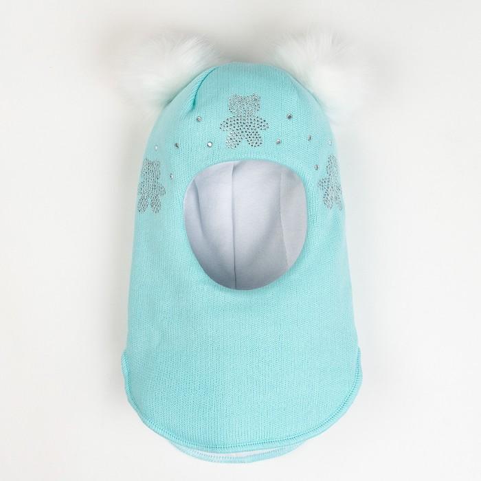 Шлем-капор зимний для девочки, цвет мята, размер 48-50