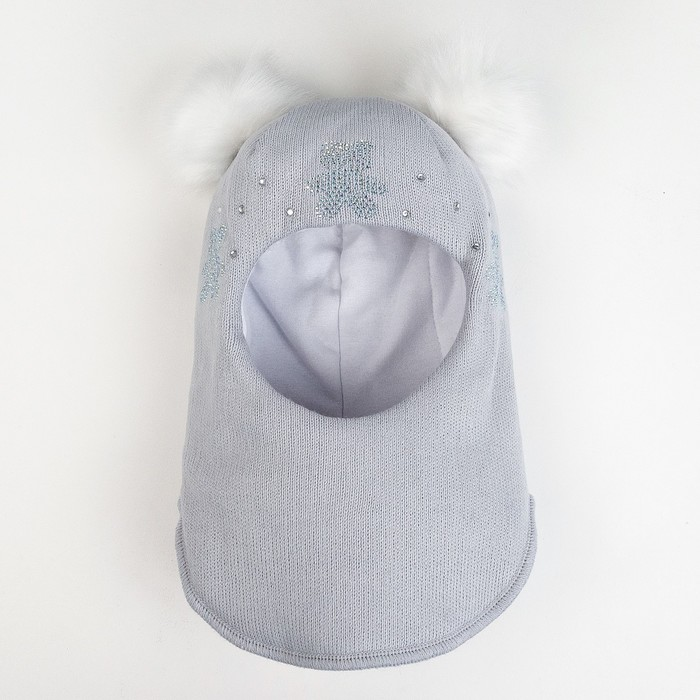 Шлем-капор зимний для девочки, цвет серый, размер 48-50