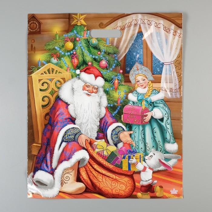 """Пакет """"Помощники с подарками"""", полиэтиленовый с вырубной ручкой, 45 х 38 см, 60 мкм - фото 308292014"""