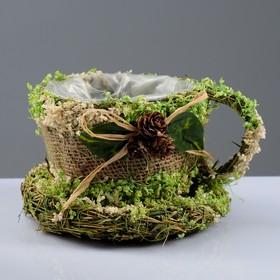 Кашпо «Кружка с украшением», 10×16×10 см, сухоцветы