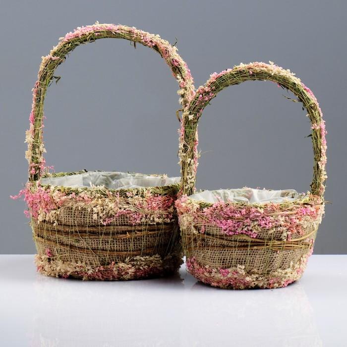Набор корзин «Нежность», 2 шт, 20×12/32 см, 15×11/27 см, сухоцветы