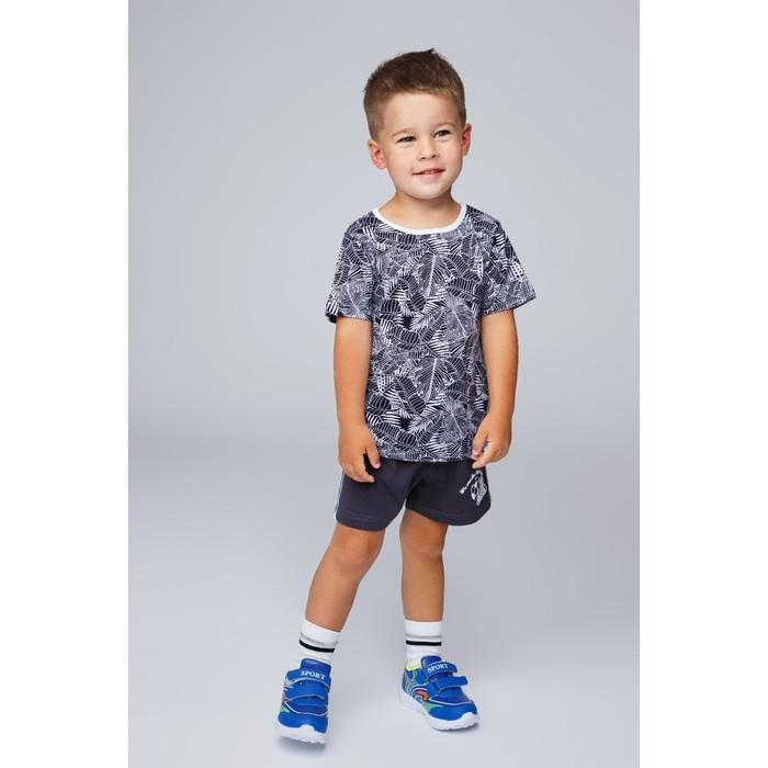 Футболка для мальчика, цвет синий/принт папоротник, рост 116 см