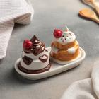 Набор для специй «Сладкоежка», 2 предмета: солонка и перечница, на подставке - фото 308121567