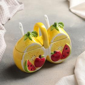 Банка для сыпучих продуктов «Лимон», 200 мл, 2 секции, 2 ложки
