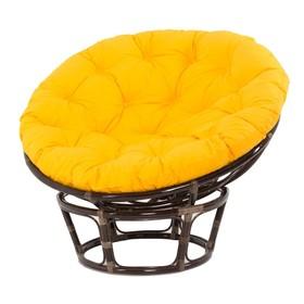 Кресло PAPASAN, с жёлтой подушкой, ротанг, цвет тёмно-коньячный, матовый 23/01