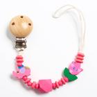 """Держатель для пустышки """"Слоник"""", дерев., цвет розовый - фото 105542391"""