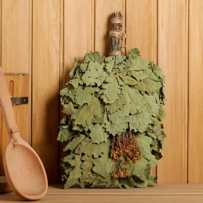 Веник для бани ЭКСТРА из кавказского дуба со зверобоем