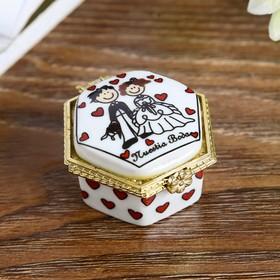 Шкатулка керамика 'Жених и невеста' МИКС 2,5х4х4 см Ош