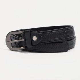 Ремень детский, винт, пряжка под металл, ширина - 2,2 см, 75-90 см, цвет чёрный