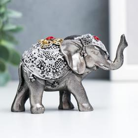 """Сувенир полистоун """"Слонёнок в золотой попоне с рубином"""" 5,5х8,5х3,2 см в Донецке"""