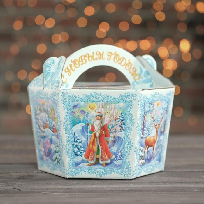 "Подарочная коробка ""Белый снег"", корзина малая, 22,5 х 20 х 13 см"