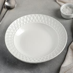 Тарелка суповая Magistro «Блик», d=23 см, цвет белый