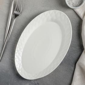{{photo.Alt    photo.Description    'Тарелка обеденная Magistro «Блик», 25×16,5×1,5 см, цвет белый'}}
