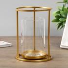 """Подсвечник металл, стекло на 1 свечу """"Цилиндр"""" золото 16х12х12 см"""