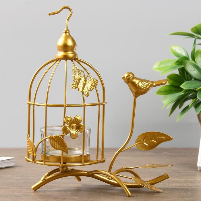 "Подсвечник металл, стекло на 1 свечу ""Клетка с птичкой"" золото 19х14х8,5 см"