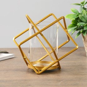 Candle holder metal glass 1 candle Cube gold 16x19x19 cm