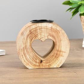 """Подсвечник дерево на 1 свечу """"Спил- сердечко"""" 9х10х5 см"""