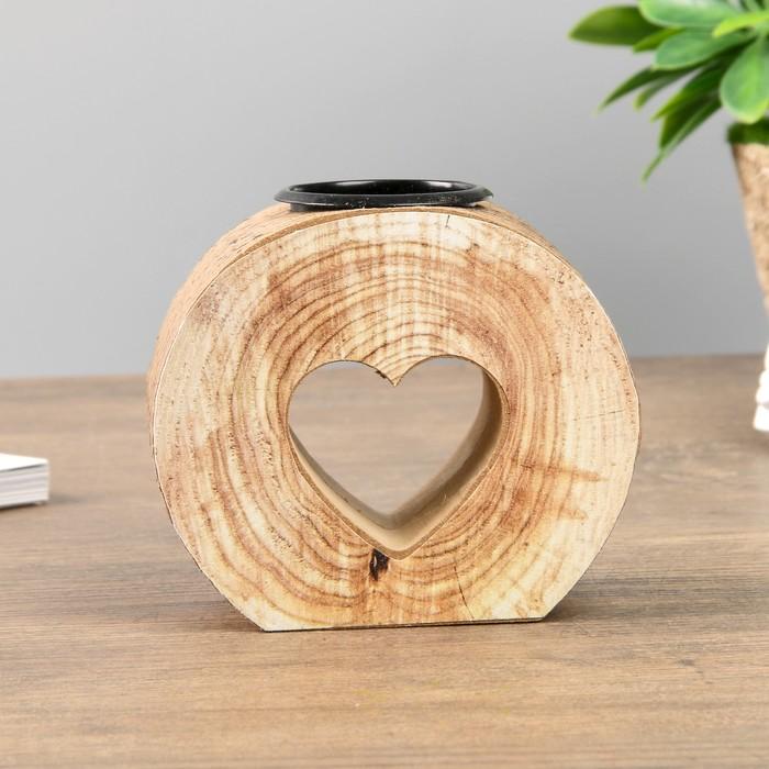 Подсвечник дерево на 1 свечу ''Спил- сердечко'' 9х10х5 см   4287414