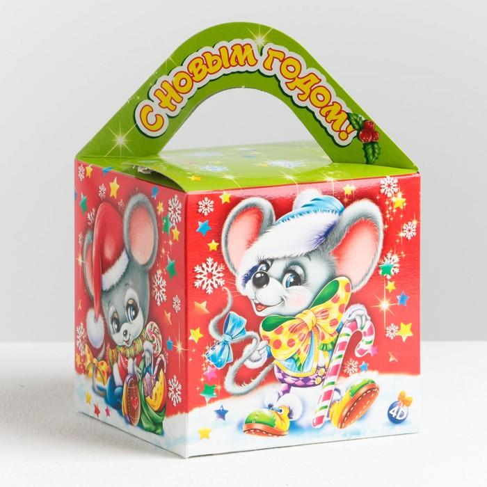 """Подарочная коробка """"Мышки-малышки"""", кубик большой, с анимацией, 11,5 х 11,5 х 11,5 см - фото 303316429"""
