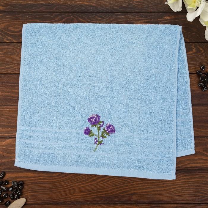 Полотенце махровое Розы 50х90 см, голубой, хлопок 100%, 315 г/м2