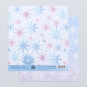 """Paper for scrapbooking """"Gentle snowflakes"""", 15.5 × 17 cm, 180 g/m"""