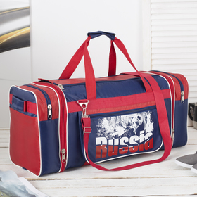 Bag, Department, zip, with gain, 3 exterior pockets, a long strap, color blue/red