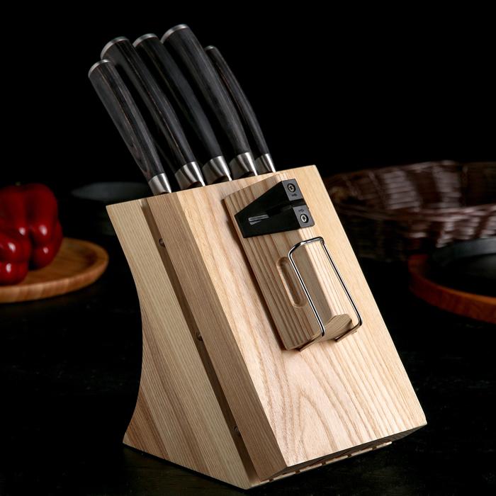Набор кухонных ножей Nadoba DANA, 5 шт: лезвия 9 см, 12,5 см, 17,5 см, 20 см, 20 см, универсальный блок с ножеточкой